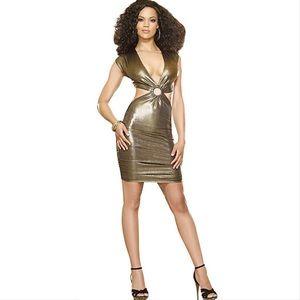 Gold metallic cutout lame' style party dress
